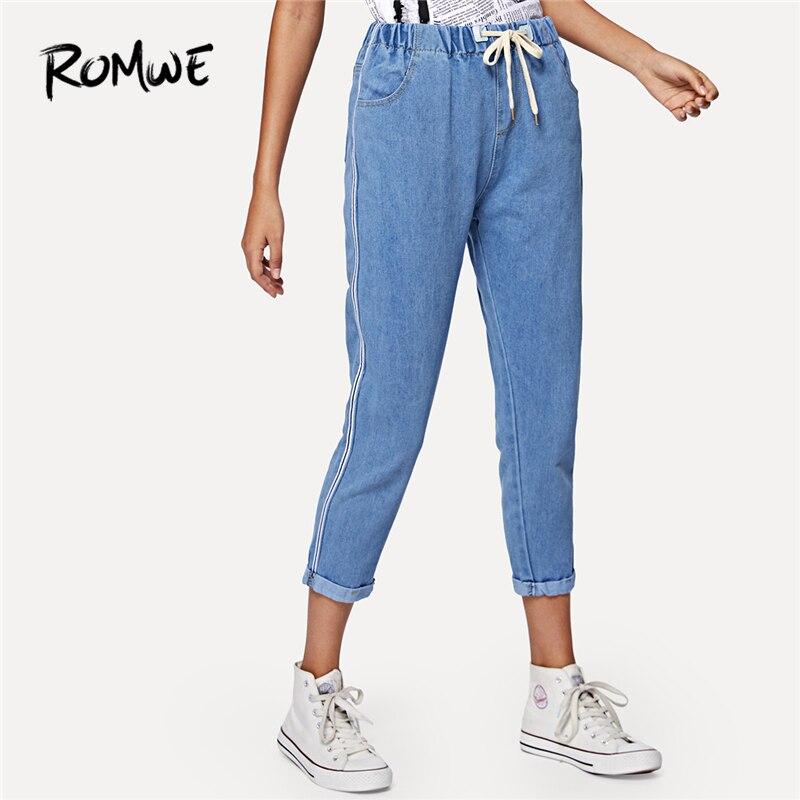 ROMWE   Jeans   Women Blue Denim Pencil Pants Casual Trousers Drawstring Waist Ankle   Jeans   Spring Fall Mid Waist Plain Capris   Jeans