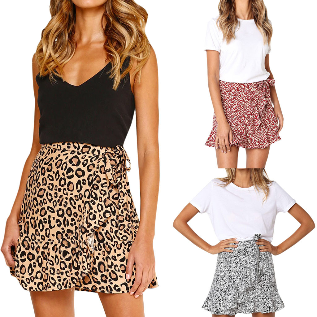 Womail Women skirt Summer Fashion Retro High Waist Evening Party Short Print Skirt Daily skirt tutu Casual 2020 dropship f8