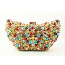 Schmetterling förmigen Abend Clutch Bag Berühmte Designer Frauen Kristall Kupplung Abendtaschen mit Schulter-kette Tasche