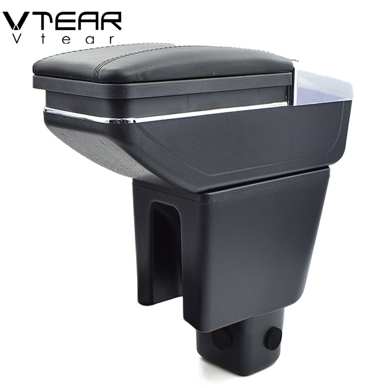 Vtear For Honda mobilio armrest box PU Leather central Store content box cup holder interior car