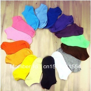 2013 hot sale women cute socks slippers boat socks candy color cotton free shipping