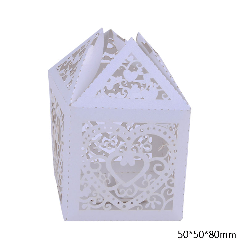 MJARTORIA 50PCs Hollow Pater Boxes For Wedding Engagement Gift Boxes Square Paper Boxes For Jewelry Storage Easy Carring Boxes