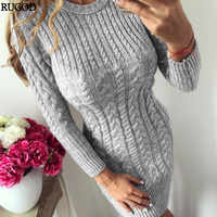 RUGOD 2019 New Autumn Winter Warm Sweater Dress Women Sexy Slim Bodycon Dress Female O neck Long Sleeve Knitted Dress Vestidos
