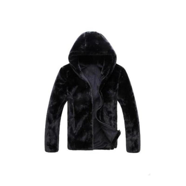 Hot sell 2016 new winter faux fur coat Men black warm fashion Soft and comfortable rabbit fur thick hooded jacket male fur coat