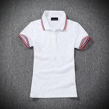 Высокое качество летние Брендовые женские рубашки поло с коротким рукавом хлопковые повседневные женские рубашки поло с отворотом модные облегающие Женские топы