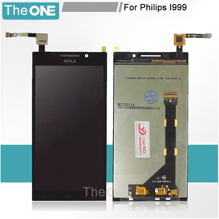 ФОТО 100% Test For Philips I999 LCD Screen With Touch Sensor Digitizer Assembly Replacement Brand New Black Color