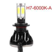 6000K Led Car Auto Headlight H7 80W 8000LM 4 COB Led All In One White Bulb for Automotives Headlight Fog lamp