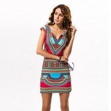 Boho Традиционный Африканский Печати Dashiki Платья для Женщин Сексуальная Клуб Bodycon Лето Футболка Платье 2016 Красный Туника Одежда Халат