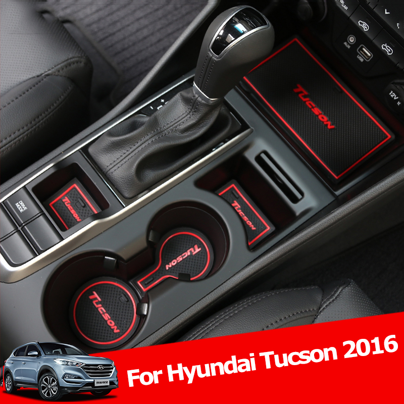 For Hyundai Tucson 2016 2017 2018 Rubber mat Car Door Groove Mat anti-slip pad Interior decoration accessory car-styling Cup Mat