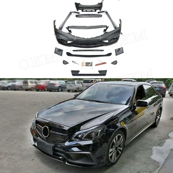 PP Material Car Styling Wide Body Kits Front Rear Bumper lip Spoiler for Mercedes Benz E Class WD Style