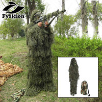 4pcs Suit Tactical Camouflage Woodland 3D Ghillie Bionic Training Bow hunting Ghillie