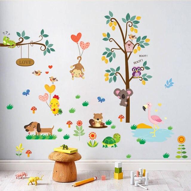 2017 חדש מדבקות קיר ילדים תינוק ילדי חדר קריקטורה בעלי החיים קיר מדבקות ויניל דקור DIY אמנות מדבקות