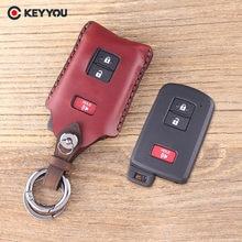 KEYYOU-Funda de cuero genuino para llave de coche, funda para llave, 2 + 1, 3 botones, para Toyota Avalon, Camry, RAV4