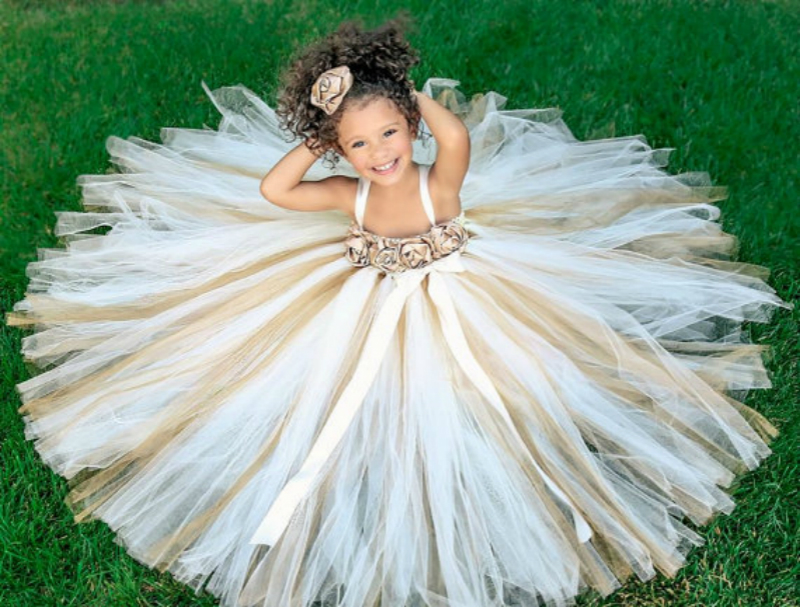 POSH DREAM Ivory   Flower     Girl     Dress   Gold Champagne   Flower     Girl   Tutu   Dress   Birthday Party Clothes for Children Kids