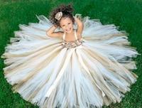 POSH DREAM Ivory Flower Girl Dress Gold Champagne Flower Girl Tutu Dress Birthday Party Clothes for Children Kids