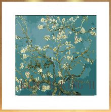 Hand-painted famous painter (Vincent Willem van Gogh )orchid Flower oil painting decorative hotel lobby sofa large murals