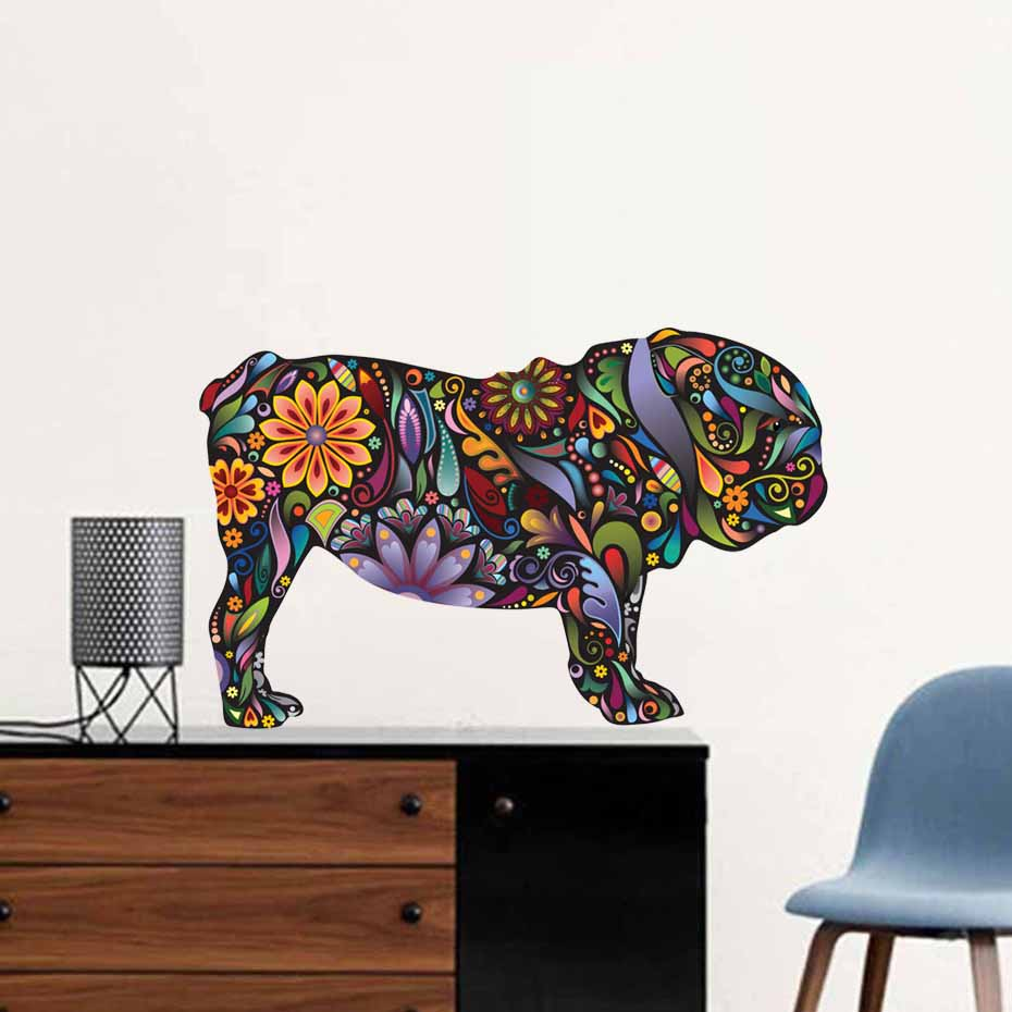 Bulldog Dog Vibrant Floral Pattern Color Wall Stickers For Living Room Waterproof Wall Art Decals Ethnic Unique Style Wallpaper