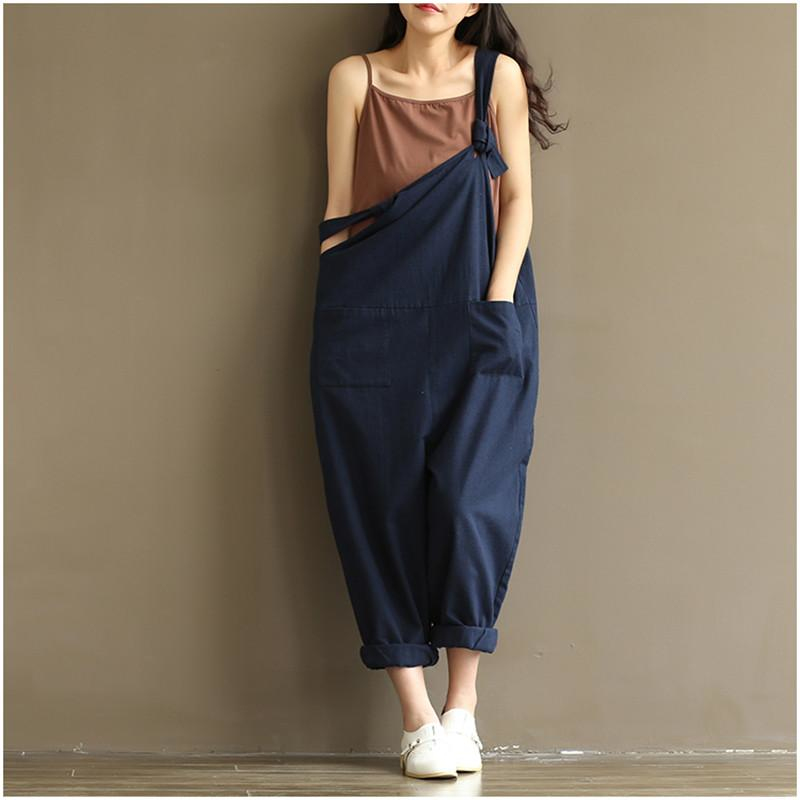 Casual Loose Harem Pants Women Sleeveless Strap Rompers Dungaree Oversized Trousers Pant ...