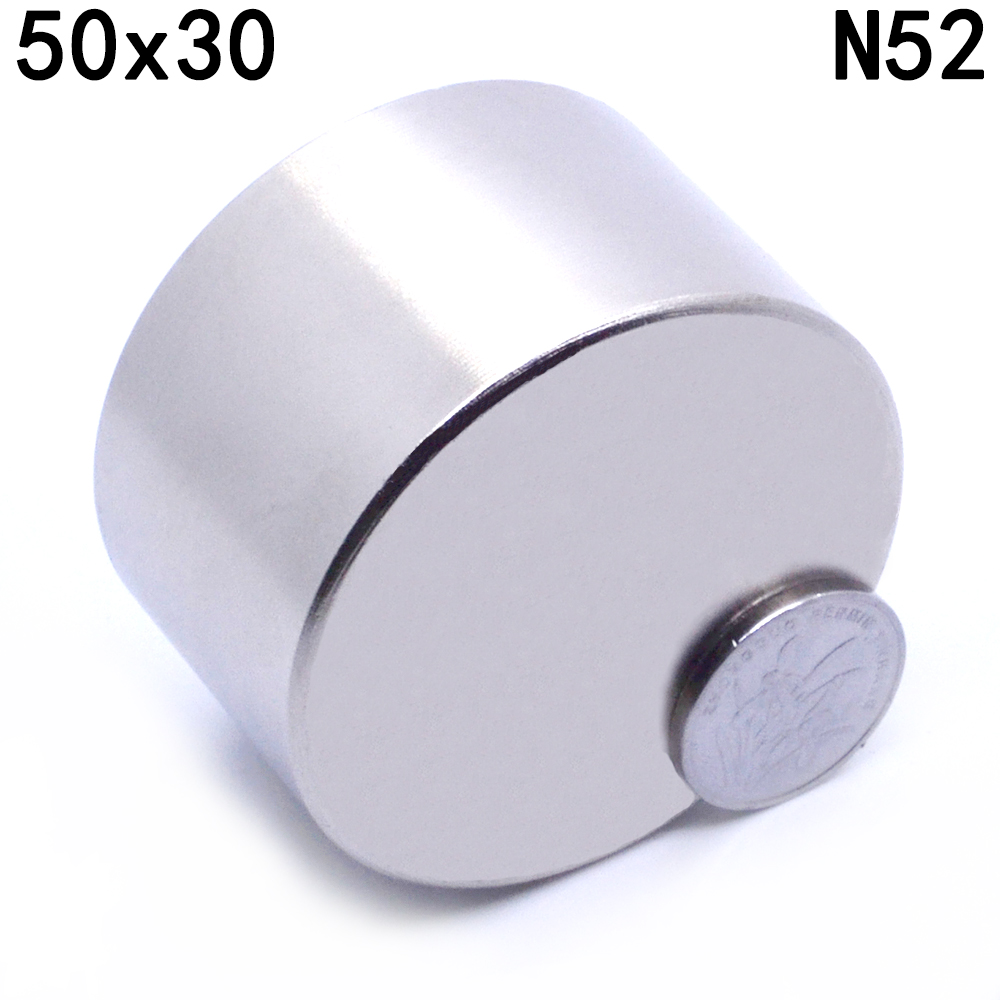 ZHANGYANG 1 piezas N52 neodimio 50x30mm galio metal imanes fuertes estupendos 50*30 imán redondo potente magnético permanente