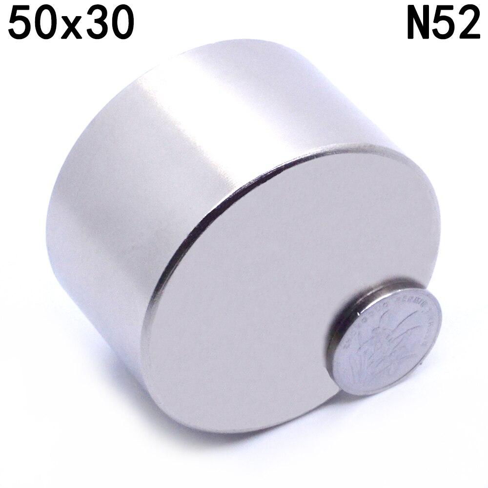 ZHANGYANG 1 unids N52 imán de neodimio de 50x30mm de metal galio super fuerte imanes 50*30 imán redondo poderoso magnético permanente