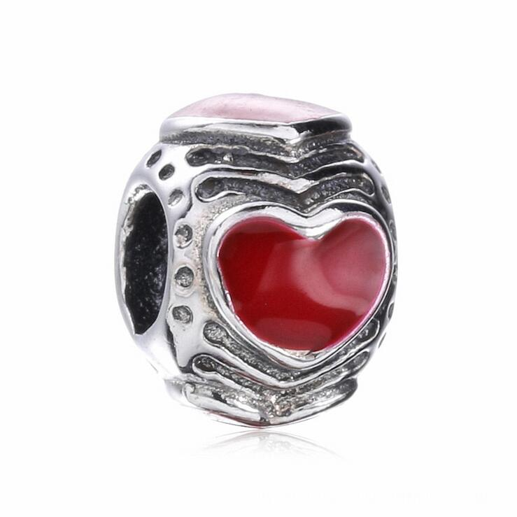 High Quality 925 Sterling Silver red enamel Love heart Charm Circular beads Fits Pandora Style Bracelets DIY jewelry making