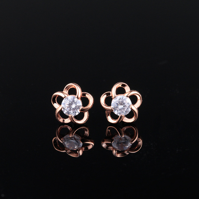Lozrunve Simple And Fresh 925 Sterling Silver Petals Rose Gold Diamond Earrings Out Of One Generation