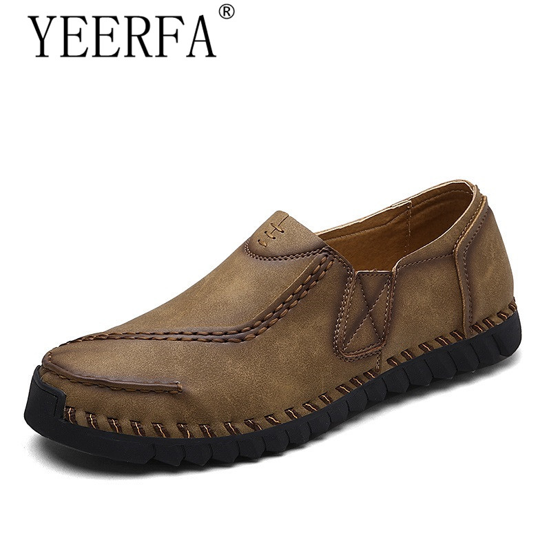 YIERFA New 2017 Brand Men's Loafers Leather Casual Men Shoes Summer Slip-on Shoes For Men flats Moccasins 38-44 eur dxkzmcm new men flats cow genuine leather slip on casual shoes men loafers moccasins sapatos men oxfords