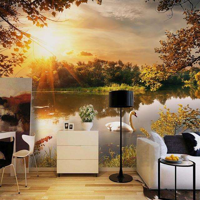 photo papier peint beau coucher de soleil lac nature paysage murale salle manger caf salon