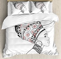 Afro Decor Duvet Cover Set Exotic Safari Lady in Boho Turban Glamour Authentic Folkloric Fashion Design 4 Piece Bedding Set