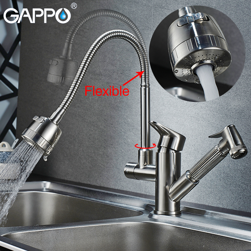 Gappo kitchen Faucets flexible kitchen water sink mixer tap rotatable kitchen pull out water mixer Faucets цена