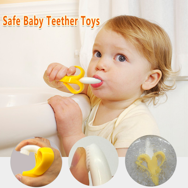 1pcs Baby Silicone Training Toothbrush Banana Shape Safe Toddle Teether Chew Toys Teething Ring Gift For Infant Baby Chewing