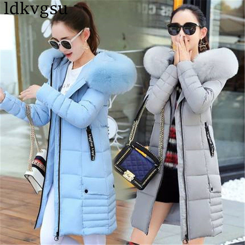 2019 New Winter Jackets Women Plus Size Long Cotton Coat Female Fur Collar Hooded Thick Warm   Parka   High Quality Outerwear A1575