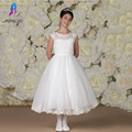 Elegante Do Laço Branco Vestidos Da Menina de Flor vestido de Baile Primeira Comunhão Vestido de Festa Para Casamentos Tulle Apliques Zipper Voltar