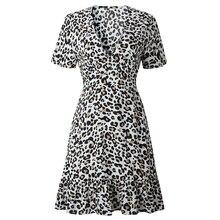 Summer Dress Print Leopard Dress Sexy Women Short Sleeve V Neck Ruffle High Waist Hem Mini Dress cartoon goose print ruffle hem cami dress