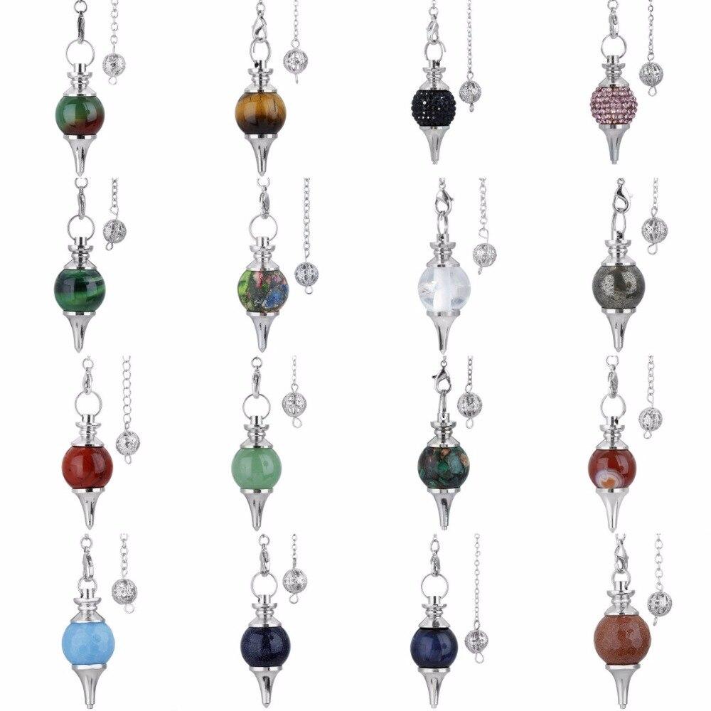 Natural Gemstone Reiki Chakra Pointu Healing Pendentif Charm Perles Plaqué Argent