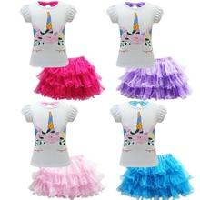 3-12yrs Teen Kids Pretty Little Girl Baby Unicorn Dress Summer Short Sleeve Mesh Tulle Princess Party Wedding Tutu