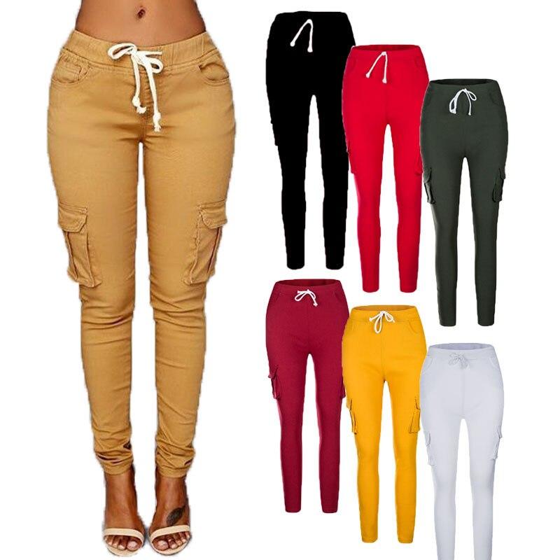 Women Elastic Pancil Pants Trousers Cotton Pocket Long Casual OL Fashion Office Work Colors Plus Size Ladies Femme Mujer