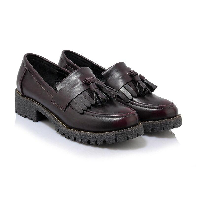 100% QualitäT Rot Quaste Gefüttert Plüsch Marke Oxford Schuhe Frauen Plattform Wohnungen Japanischen Weichen Leder Winter Sapatos Slip-on Casual Retro Brogues Professionelles Design