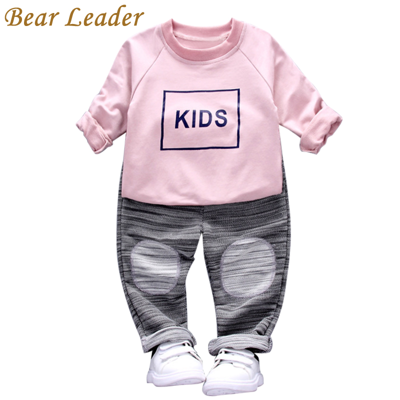 цена  Bear Leader Baby Boys Girls Sets 2017 New Autumn Baby Clothing Sets O-Neck Sweatshirt+Striped Pants 2Pcs for Baby Clothes  онлайн в 2017 году