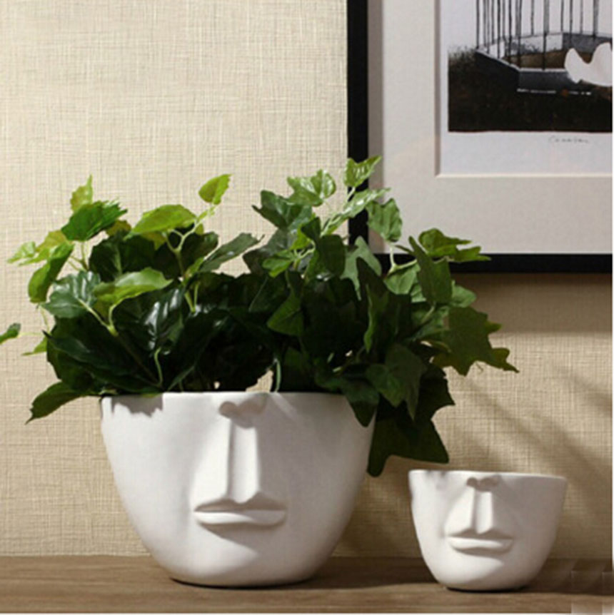 Man Face Flower Pots Planters Home Decoration Modern
