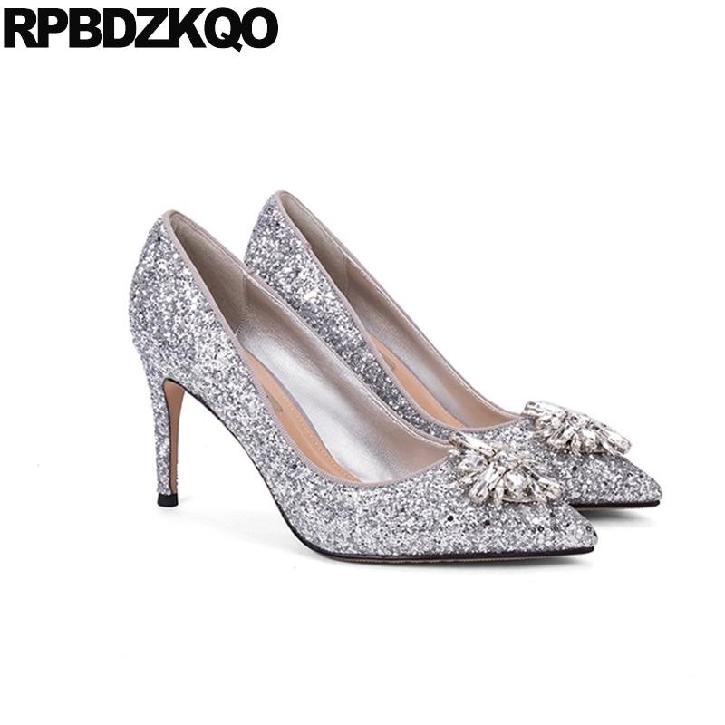 Plus Size Silver Bling Wedding Shoes 10 42 Ladies 2017 Stiletto ...