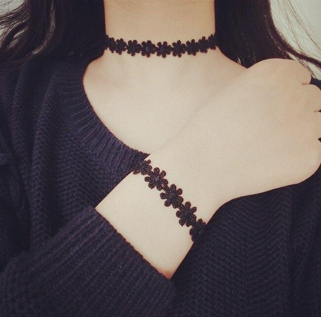 037e2229b0ae Rainbery 2018 nueva moda elegante negro Encaje gargantilla para las mujeres  vestido de noche cóctel Collares y Colgantes Accesorios collar bijoux en ...