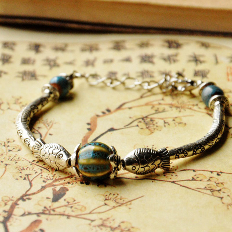 Ceramic Strand Bracelets Silver Color Bronze Flower Fish Charm Cuff Bangle Wristbands Women Men Accessories Jewelry Adjustable
