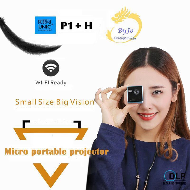 Original Projetor UNIC P1 + H Plus Sem Fio Móvel Suporte Miracast DLNA Proyector Bolso Bateria Projetor DLP Projetor de Cinema Em Casa