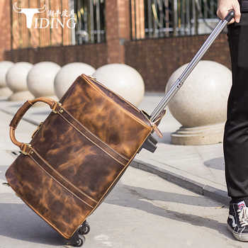 Travel Duffle Bags Genuine Leather Extra Large 2019 New Large Travelling Bag Real Leather Trolley Case Suitcase with Wheels Man - DISCOUNT ITEM  33 OFF Luggage & Bags