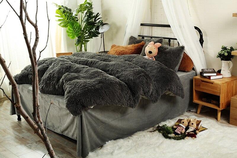 Brown Grey Orange Thick Fleece Winter Bedding sets Queen sizebed fit sheet set Duvet cover Pillowcase