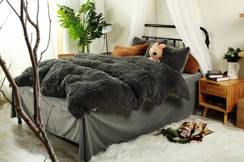 Ropa de cama de invierno de lana gruesa marrón gris naranja juegos de cama tamaño Queen/juego de sábanas juego de edredón funda de almohada suave ropa de cama de abrigo-in Juegos de ropa de cama from Hogar y Mascotas    1