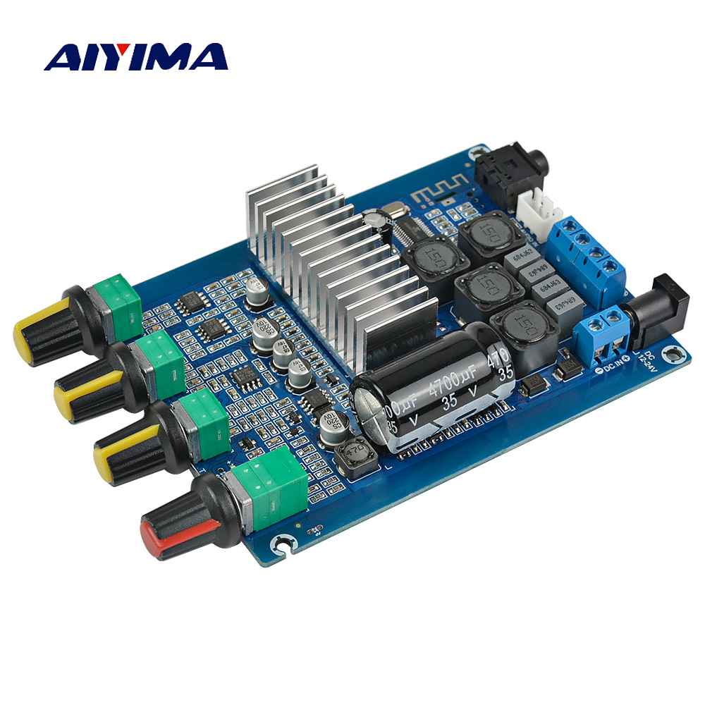 Aiyima TPA3116 Bluetooth 4.2 Digital Amplifier Board 50W*2 Dual Channel 2.0 Audio Amplificador With Volume Adjustment DC12-24V aiyima tpa3116 4 1 bluetooth amplifiers audio board digital class d amplifier 4 50w 100w amplificador audio 24v car subwoofer