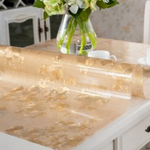 Floral Clear Rectangular Transparent PVC Tablecloth Fabric Plastic Waterproof Crystal Plate Soft Glass For Table
