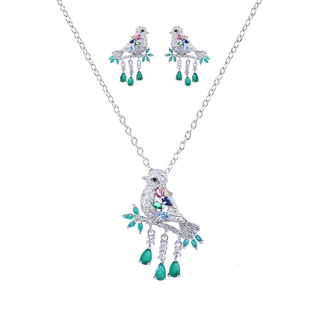 New High Quality Water Drop Green CZ Crystal Necklace And Earrings Fashion Animal Bird Jewelry Set for Women Gift 2018